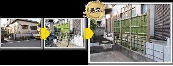 目隠し垣根とブロック積み-神奈川で造園、エクステリア工事なら鈴木造園にお任せ下さい。造園、植栽、神奈川・東京の庭施工、坪庭・垣根施工